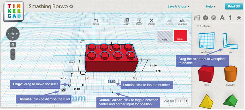 New Features Ruler And Color Stl Export Tinkercad Blog