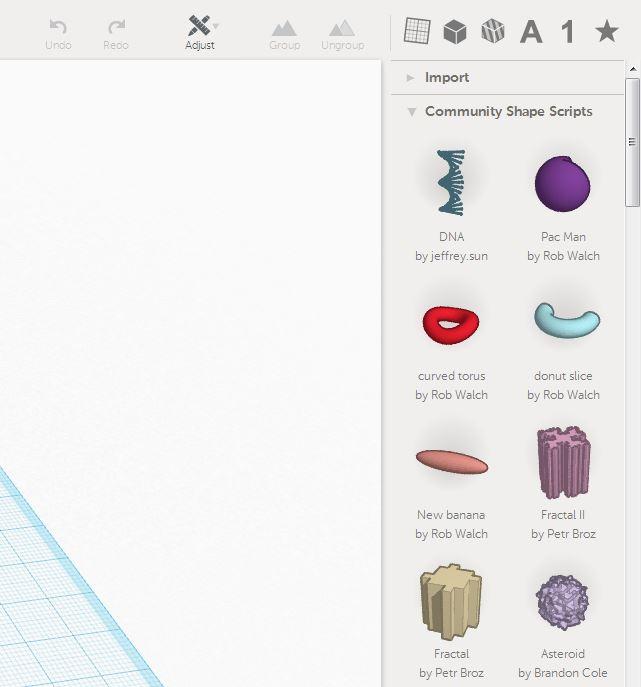 Shape Scripts palette