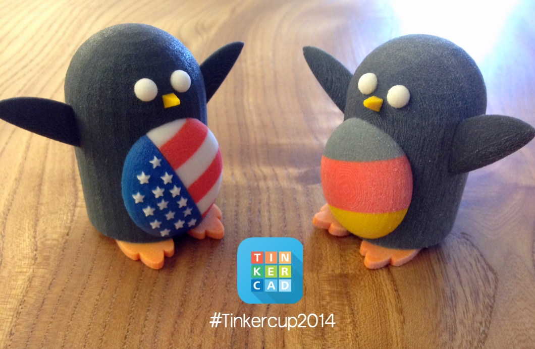 TinkerCup Penguins printed by Shapeways