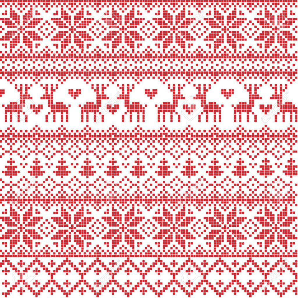 11545311-Illustrated-traditional-red-nordic-pattern-Stock-Vector-pattern-christmas-sweater